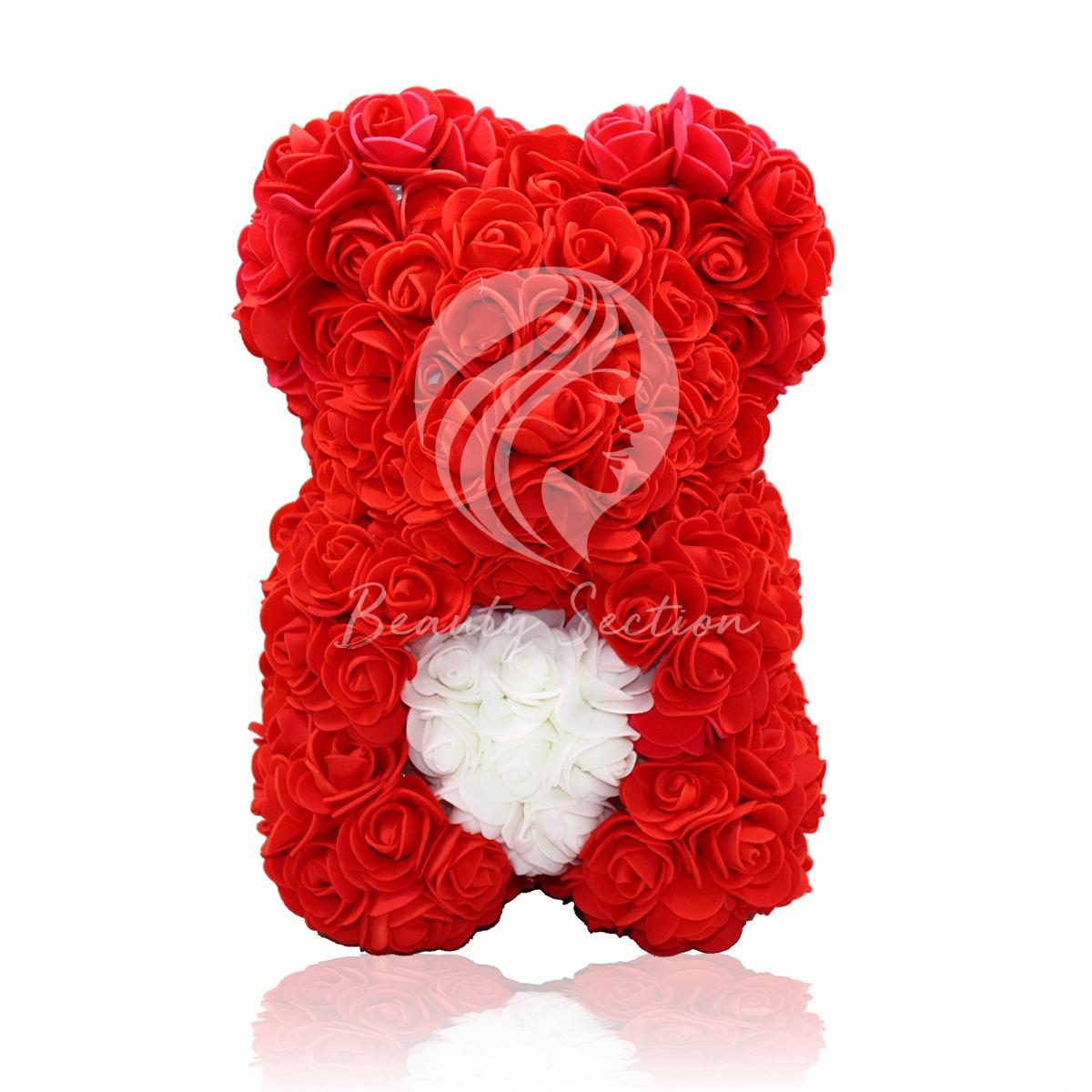 Rosenbär Rot mit weißem Herz 25cm klein