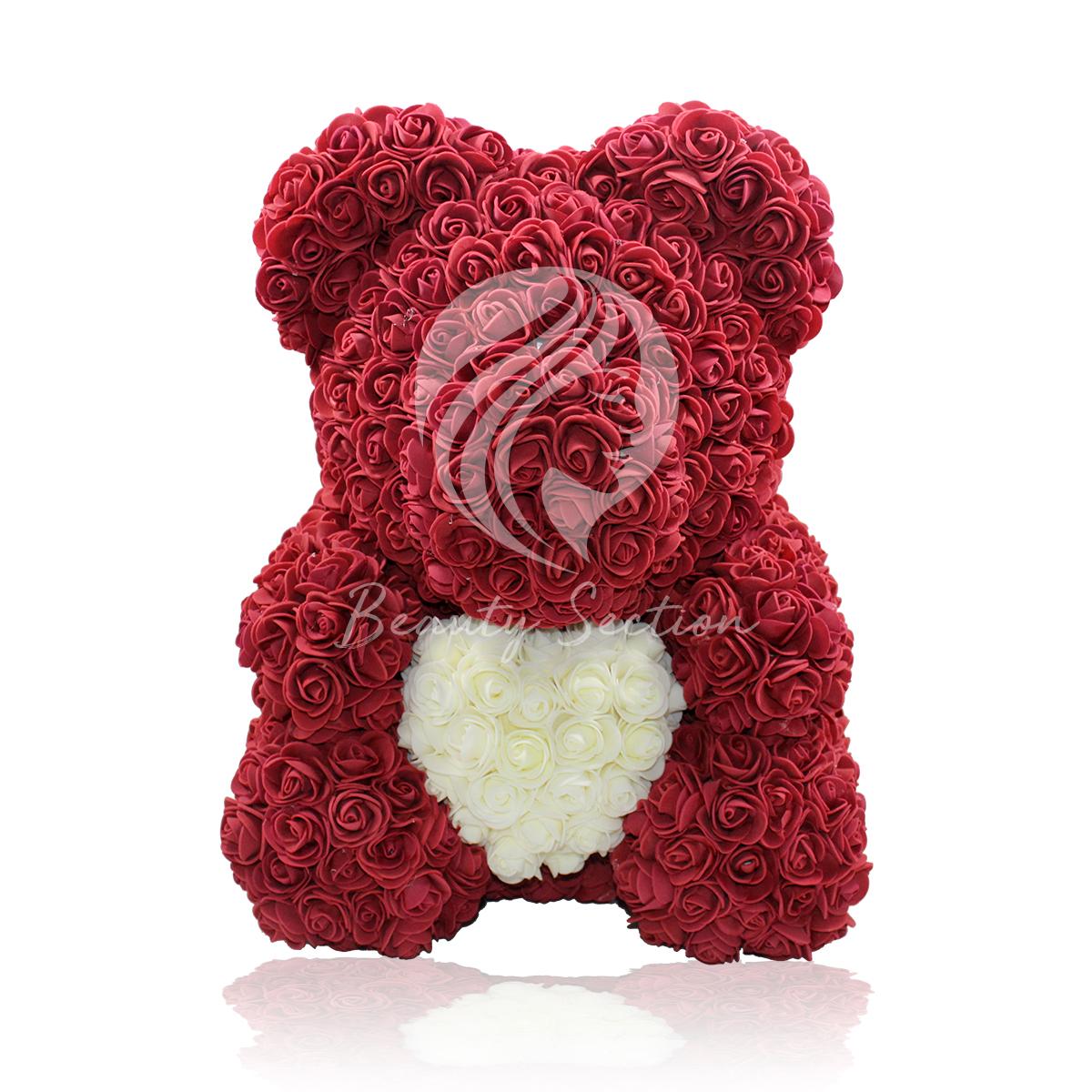 Rosenbär -Rotwein  mit weißem Herz 40cm