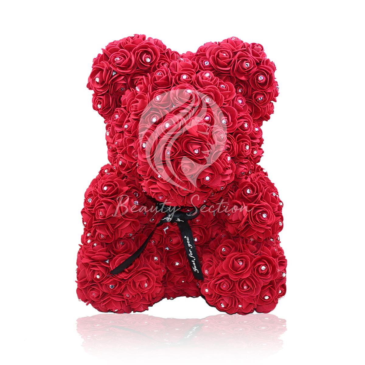 Rosenbär Dunkelrot mit Funkelsteinen 40cm