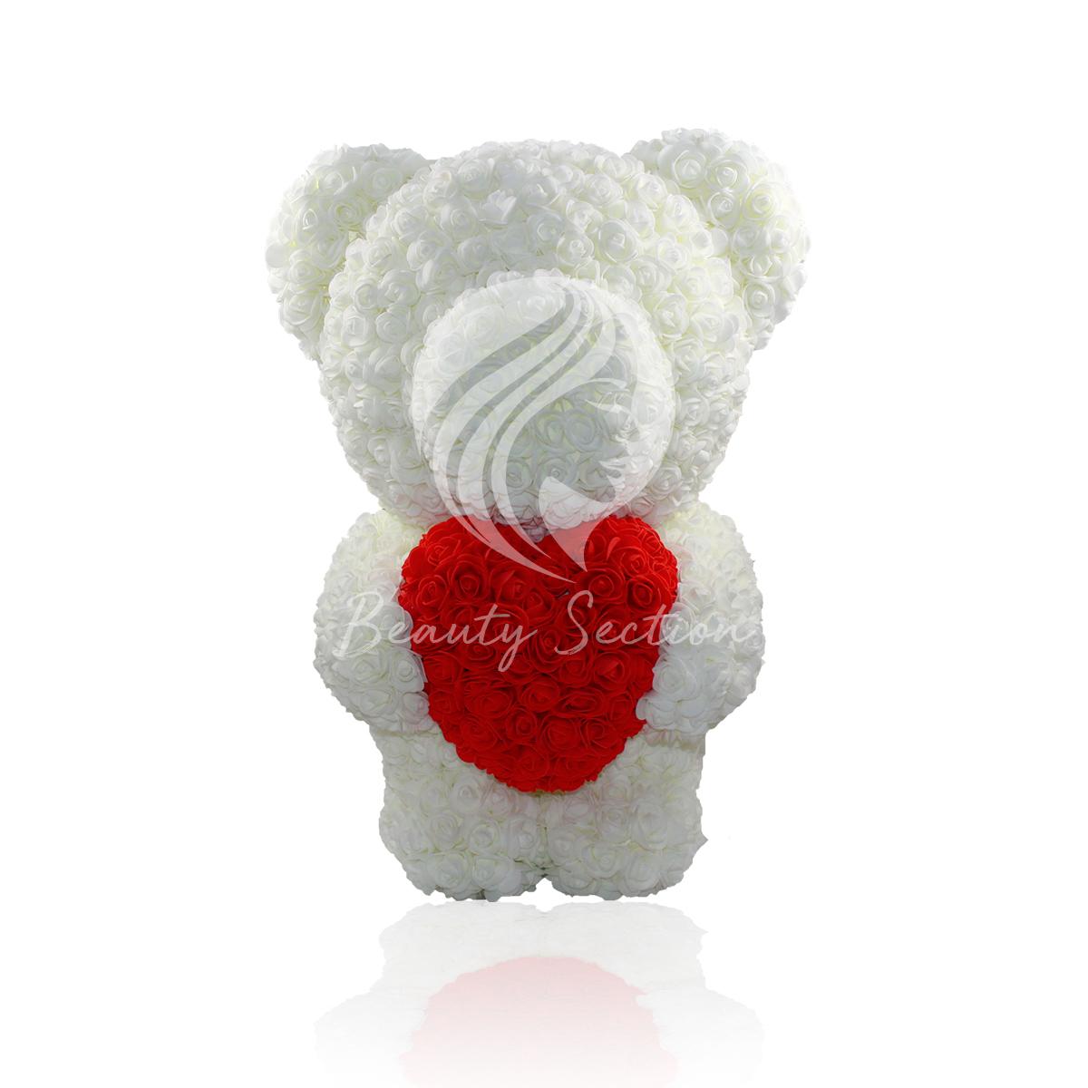 Rosenbär mit Herz 60cm in Weiß