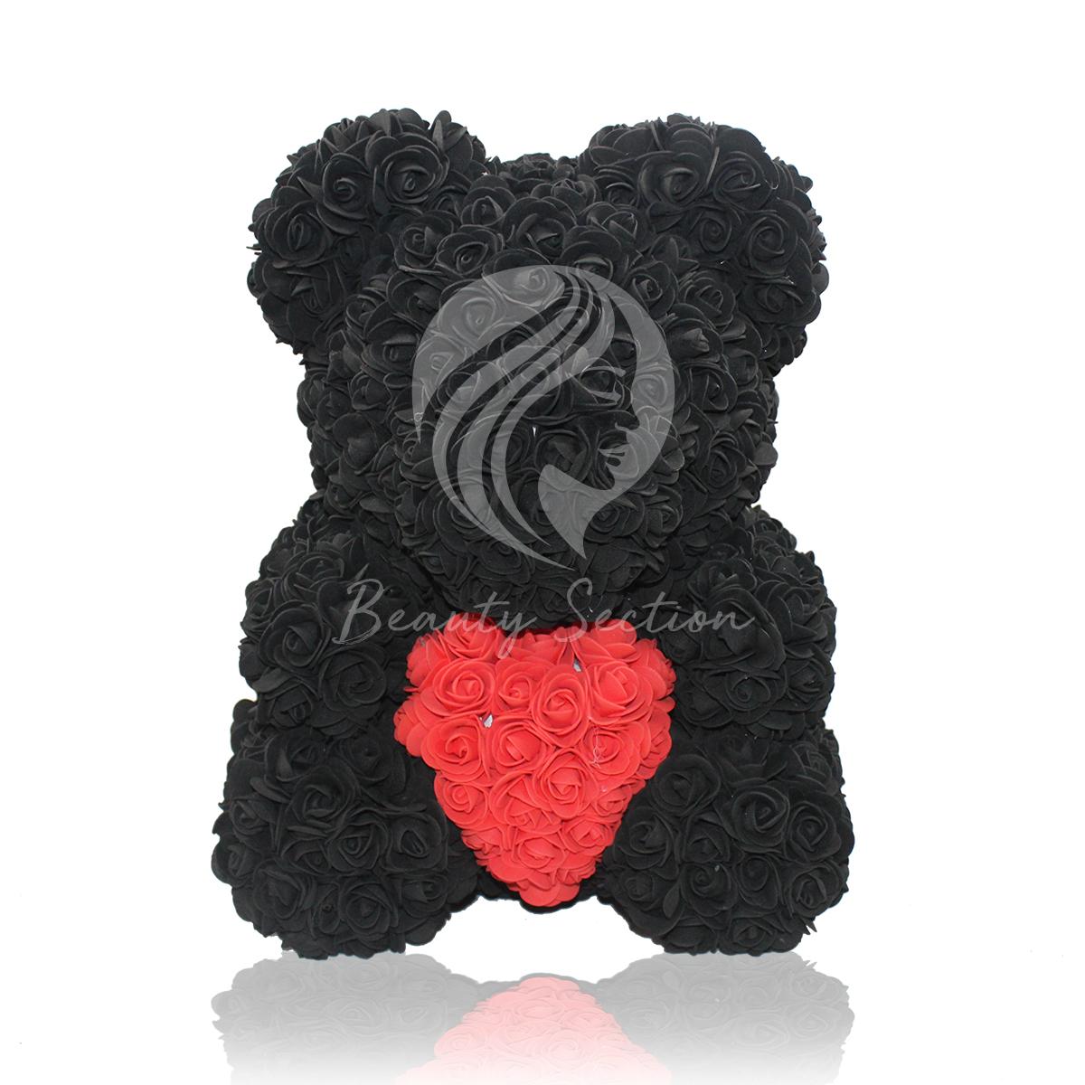 Rosenbär Schwarz mit rotem Herz 40cm