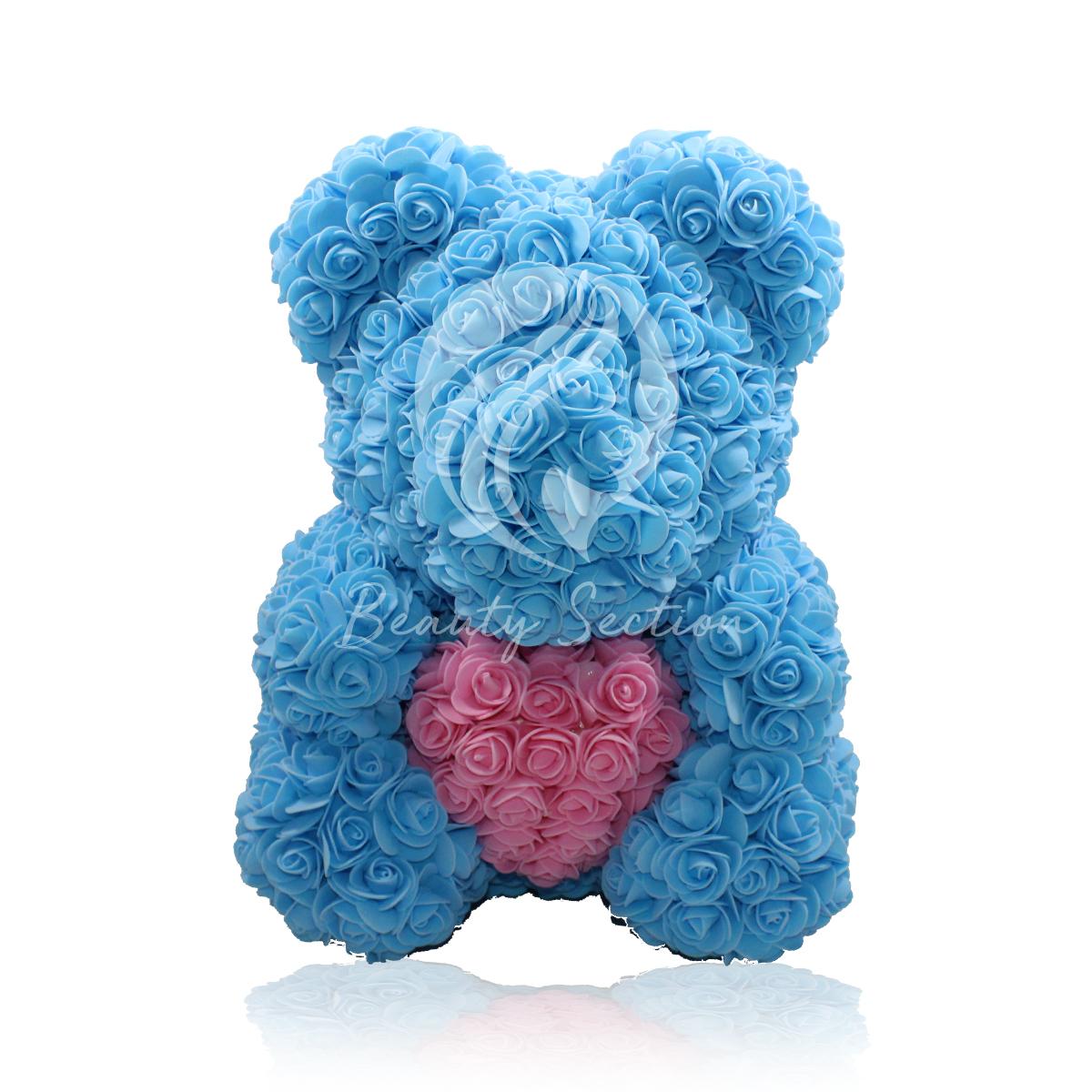 Rosenbär Hellblau mit pinkem Herz 40cm