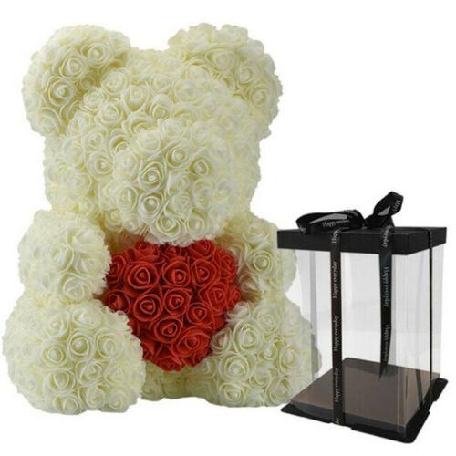 Rose Bear Flower Wedding Party Love Teddy 40cm Box Cerm mit Rot Herz