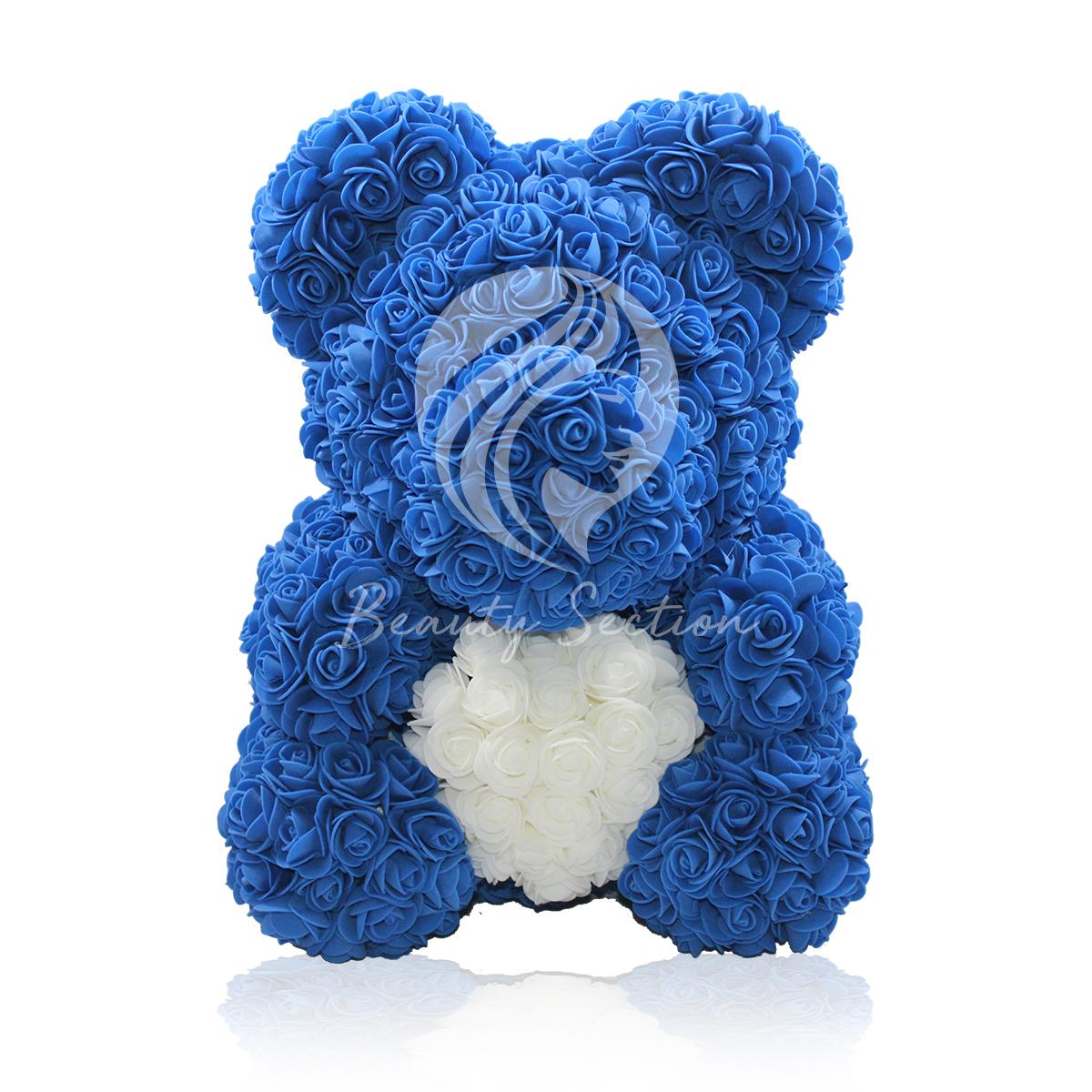 Rosenbär Blau mit weißem Herz 40cm