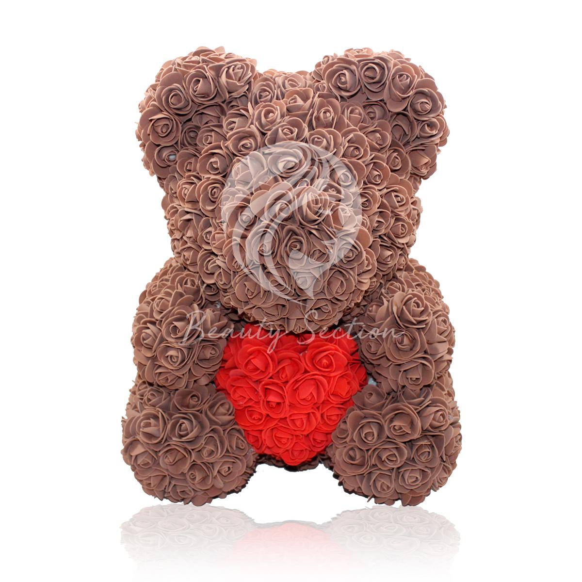 Rosenbär Braun mit rotem Herz 40cm