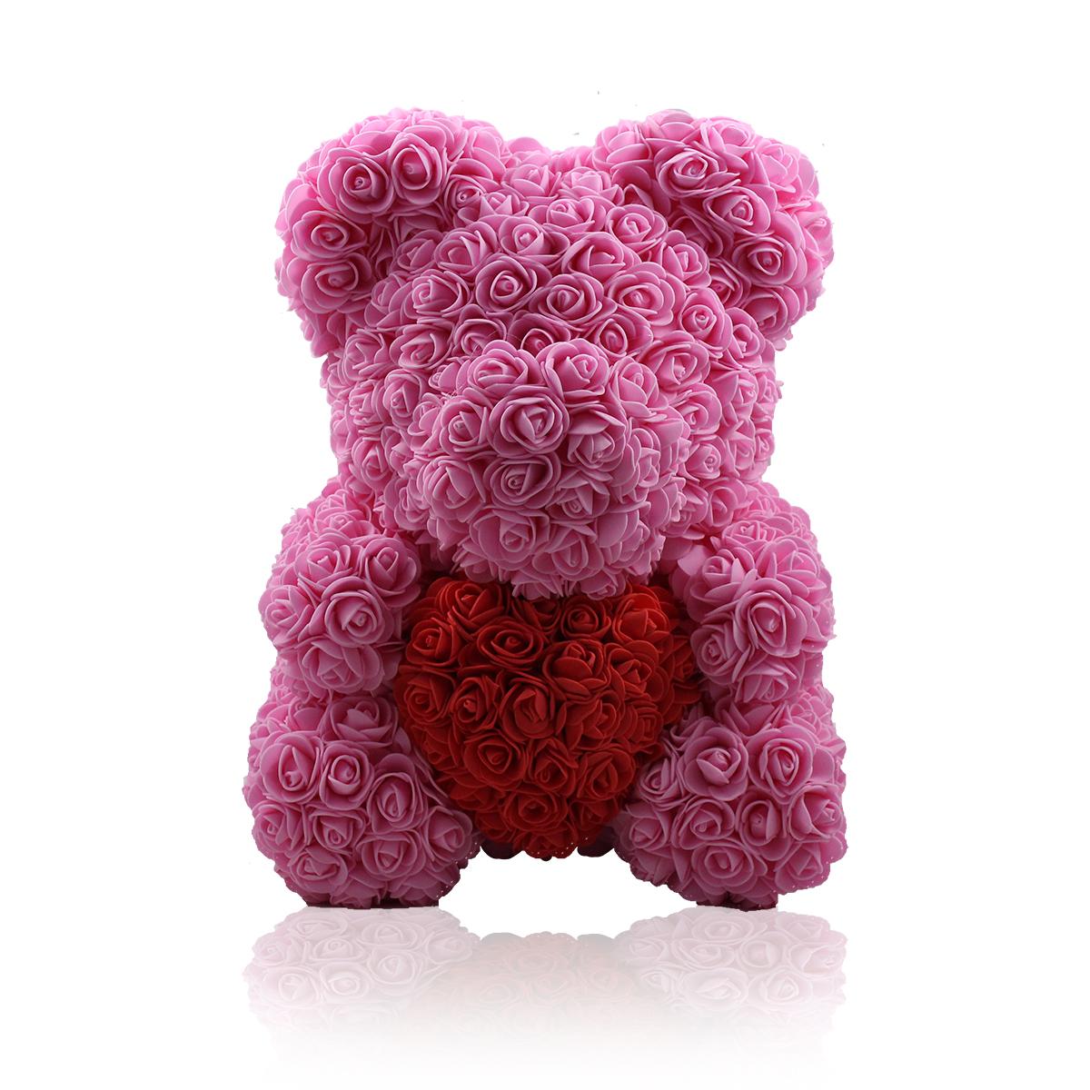 Rosenbär mit Herz Pink/Weiß 40cm